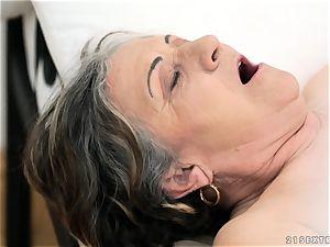 senior nymph banged rock hard in her cunt